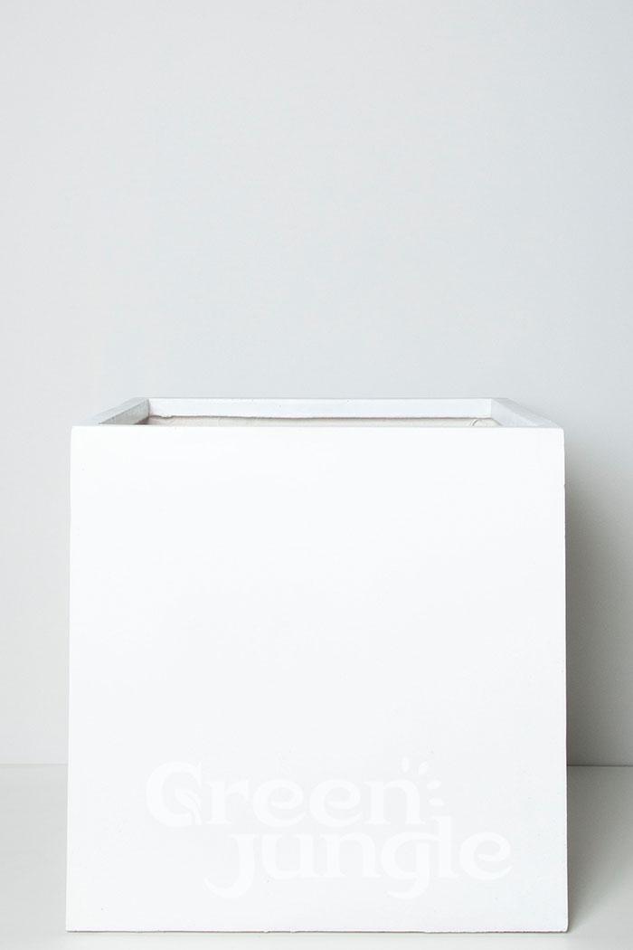 鉢カバー バスク キューブ ホワイト(10号鉢用)