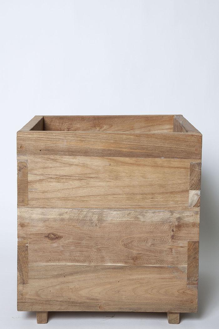 鉢カバー ティークプランター キューブ(10号鉢)