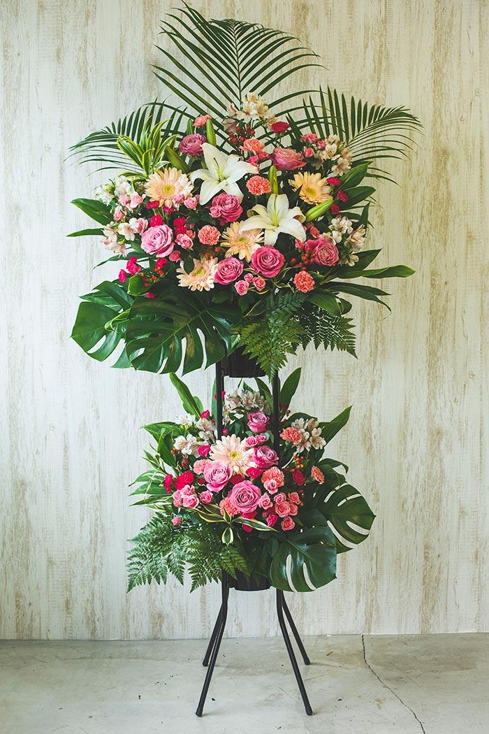 季節のスタンド花 2段 ピンク #061